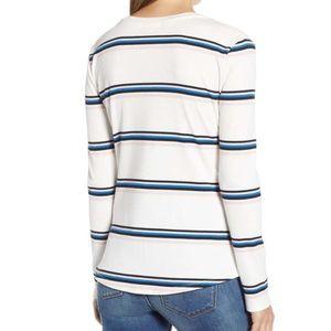 Bp blue blush soft stripe ribbed Henley knit new